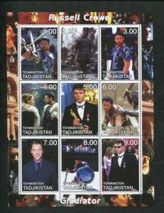 Tajikistan Commemorative Souvenir Stamp Sheet - Gladiator - Russell Crowe