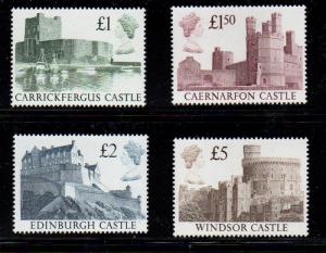 Great Britain Sc 1230-33 1988 QE II & Castles Hi Value stamps mint NH