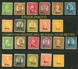 #658-#679 U.S Kans. Nebr. Mint/MH F+ SCV $650.00 Full Set