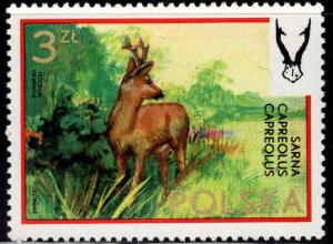 Poland Scott 1975 MH* from 1973 Hunting set pencil marks in gum