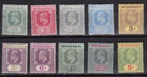Northern Nigeria 1910-11 Scott 28-37 wmk mult crown and CA MH