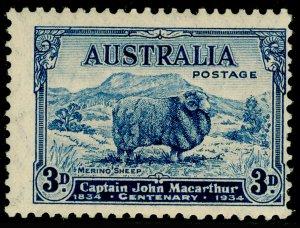 AUSTRALIA SG151, 3d blue, LH MINT. Cat £17.