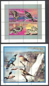 Mali Birds Snakes 2 Sheetlets of 4v each SC#809-810