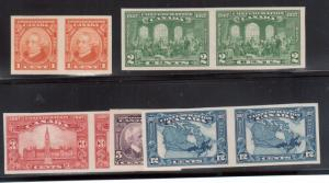 Canada #141a - #145a Extra Fine Never Hinged Imperforate Pair Set