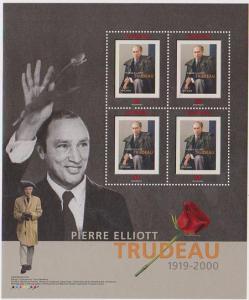 Canada - 2001 Trudeau Souvenir Sheet of 4 VF-NH #1909a Cat. $4.50