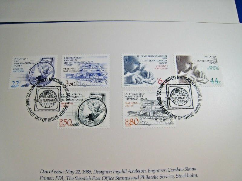 UNITED NATIONS  -  AMERIPEX '86  PRESENTATION PACK   USED FDC