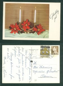 Denmark. Christmas Card 1962. 20 Ore + Seal. Odense. Flowers,Candle.Odense