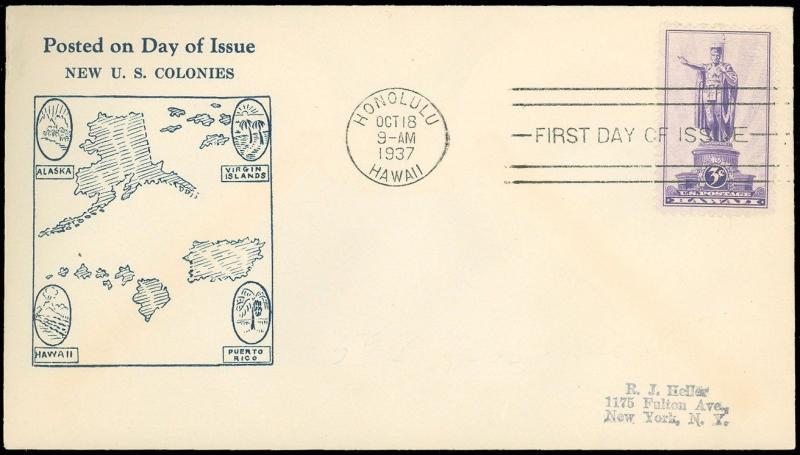 OCT 18 1937 HAWAII CDS, A C ROESSLER HAWAII TERRITORIAL Cachet, #799 ROE-2 FDC!