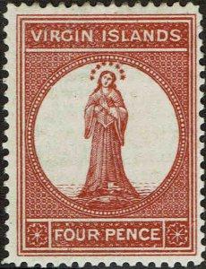 VIRGIN ISLANDS #16 1887 FOUR PENCE ST. URSULA ISSUE-MINT-OG/HINGED