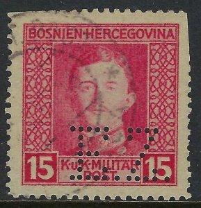 BOSNIA Scott 110, 15 heller Complete Perfin Pattern A5-EZ: Eisenindustrie Zenica