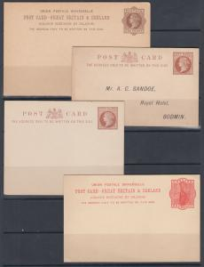 Great Britain H&G 10, 16b, 16e, 21 mint 1883-1892 Queen Victoria Postal Cards