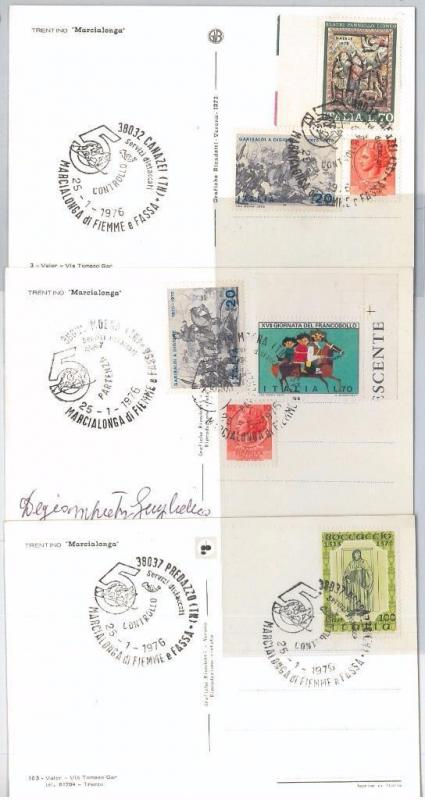 65541 - ITALY - Set of 3   SPECIAL EVENT POSTCARDS - Cross-country skiing 1976