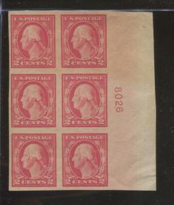 1916 US Postage Stamp #482 Mint Never Hinged Very Fine Plate No. 8026 Block of 6