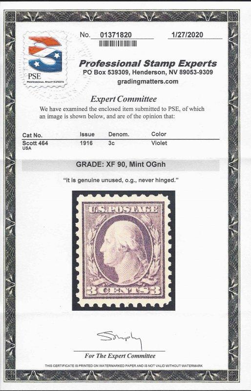 464 Mint,OG,NH... PSE graded XF-90... SMQ $325.00