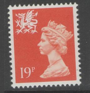 WALES SGW50 1988 19p BRIGHT ORANGE RED MNH