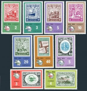 Nicaragua 939-944,C855D perf,imperf,MNH. UPU-100,1974.Stamp on stamp.Planes,Ship