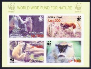 Sierra Leone WWF Patas Monkey Souvenir Sheet imperforated