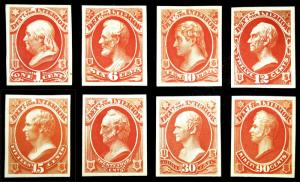O15P4-O24P4 1c-90c 1873 VF-XF Interior Dept Official Proof Lot on Card Fresh MLH