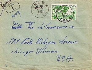 Togo 15F Houses of the Cabrals 1955 Lome R. P. Togo Airmail to Chicago, Ill. ...
