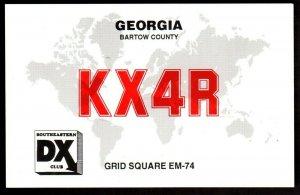 QSL QSO Radio Card Bartow County,KX4R,Greg Carter, Georgia (Q3442)