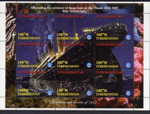 Turkmenistan 1997 Titanic Sheetlet (9) + 2 S/S perforated. YT# 65/73+28/29