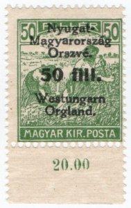 (I.B) Hungary Postal : Western Hungary 50f on 50f OP