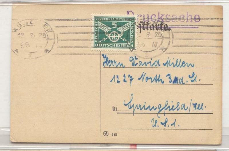 Germany Solo uses Michel 370 1925 one card (letter cover)