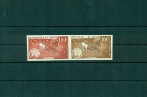 Gemini 6 and 7 Space Niger 1966 MNH IMPERF trial color proofs pair Scott 65