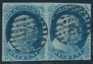 #7 VAR 1c 1851 USED POS.7L1E & POS.81E TOP ROW PAIR HV297