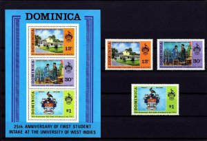 DOMINICA - 1974 - UNIVERSITY OF WEST INDIES - 25th ANNIVERSARY -MNH SET + S/S!