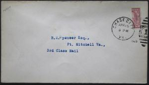 Cover - True 3 Cent Bisect to 1 1/2 Ct 3rd Class Mail rate - Chase Va S31