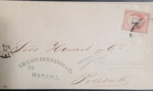 O) 1855 CUBA. SPANISH DOMINION, QUEEN ISABELLA II - Y 1/4 SURCHARGED, NO