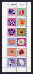 Suriname Sc# 1451 MNH Flowers 2013 (M/S of 12)