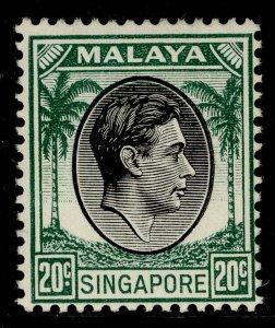 SINGAPORE GVI SG24, 20c black & green, LH MINT. Cat £13.