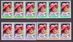 Z525 Jlstamps 1980 anguilla set strips of 3 mnh #394-7 queen mom