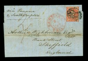 CHILE 1867 COLUMBUS 5c red Sc# 14 used on overseas cover to England Via Panama