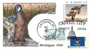 1991 Lansing Michigan USA Duck Stamp Milford Hand Painted First Day Cover