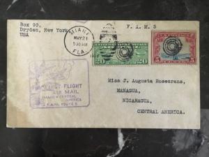 1929 Miami USA First Flight Cover to Managua Nicaragua FFC FAM 5