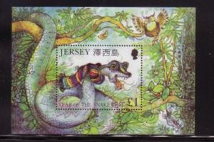 Jersey  Sc 974 2001 Year of the Snake stamp sheet mint NH