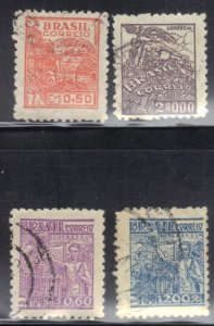 BRAZIL  SC# 514,520,523,524 USED  1941-42     SEE SCAN