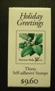 BK265, Scott 3177d, 32c Holly, COMPLETE booklet of 30, MNH Beauty