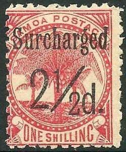 Samoa SG86 2 1/2d (Black) on 1/- dull rose-carmine M/M Cat 15 pounds