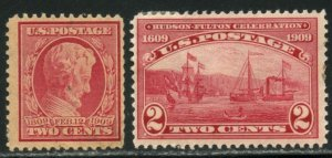 US Sc#367 & 372 1909 Lincoln & Fulton OG Mint Hinged with Faults