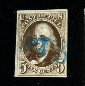 1 Used F-VF Blue Paid Cancel Tiny defects Cat $ 425+