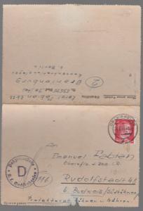 1944 Germany Oranienburg Concentration Camp Cover Kz Karl Fabian to Bohemia