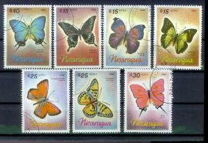 NICARAGUA [1966] MiNr 2717-23 ( O/used ) Schmetterlinge