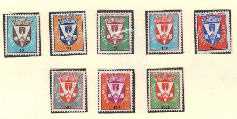 Senegal Scott o1-o8  MNH** Official Stamp set 1961
