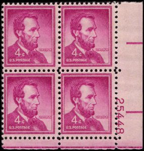 US #1036a ABRAHAM LINCOLN MNH LR PLATE BLOCK #25448 DURLAND .50¢