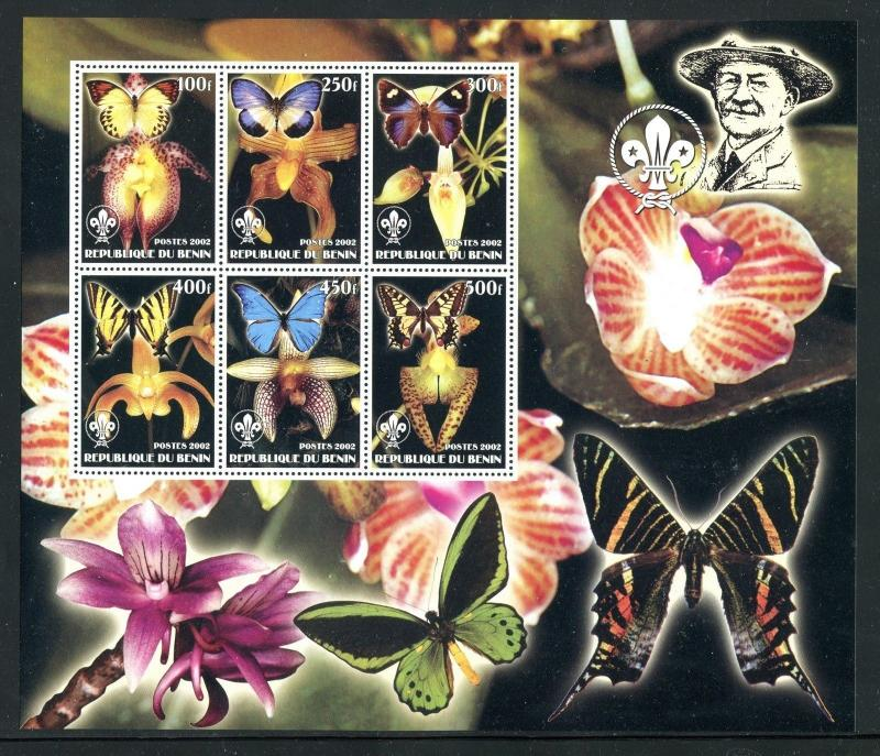 Benin, MNH, Insects Butterflies flowers orchids x23985