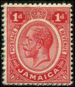Jamaica SC# 61 SG# 58a George V 1d MH  wmk 3 scarlet